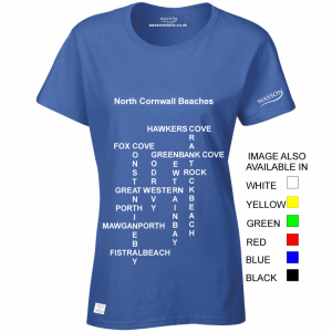 north-cornwall-beaches-ladies-royal-blue-tshirts-wassontshirts-co-uk