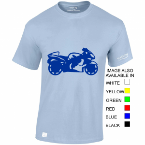 Motorcycling light blue tshirt wassontshirts.co.uk