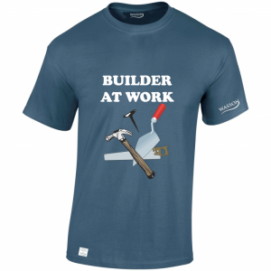 Builder at work indigo blue tshirt wassontshirts