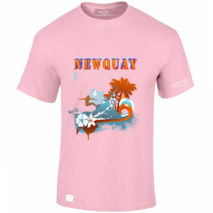NEWQUAY PINK TSHIRT wassontshirts.co.uk