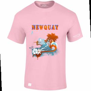NEWQUAY PINK TSHIRT wassontshirts.co.uk