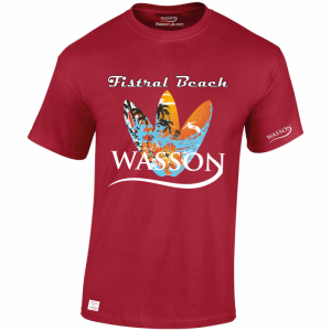 wasson & Fistral beach cardinal red Tshirt wassontshirts.co.uk