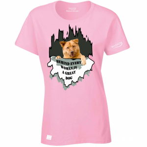 Behind every woman is a great dog T shirt, add your own dog image wassontshirts.co.uk