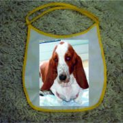 Baby Bibs Yellow personalised bespoke Dog friendly pet image Bassett