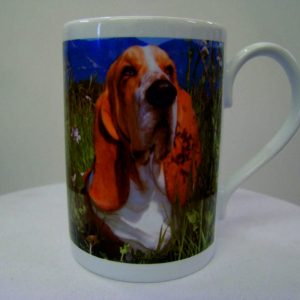Personalised Porcelain china Mug Ultra White 8oz bespoke basset